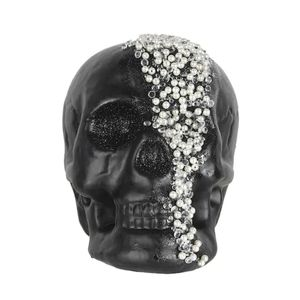 "8"" Skull with Beads Tabletop Accent"